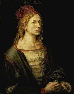 Albrecht Dürer, Portrait of the Artist Holding a Thistle (Self-Portrait), 1493
