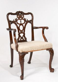An Extremely Well Carved 19th C Desk Chair