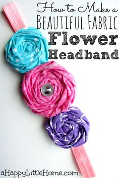 Learn to how to make a beautiful fabric flower headband. Choose your favorite fabrics to create a lovely headband to perfectly match your favorite outfit. You could also make these pretty fabric flowers to add to hair clips. These are adorable - I can't wait to make these! :)