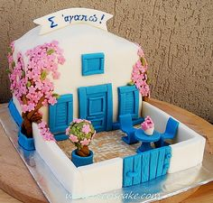 The Greatest Greek Cakes - News We have selected some of the most proudest and coolest Greek cakes you have ever seen. These Greek inspired cakes have clearly taken plenty of time and effort to bake and create. Cakes Originales, Architecture Cake, Welcome Home Cakes, Greek Cake, Realistic Cakes, Jungle Cake, Adult Party Themes, House Cake, Summer Cakes