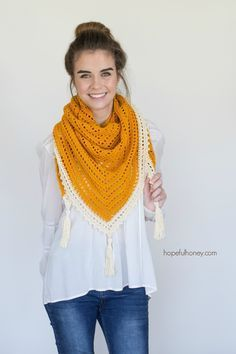 Honey Bird Triangle Scarf - Free Crochet Pattern