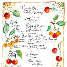 """""""Pour Deborah"""" Signed Menu Print by Jacques Pepin for Cook Who Has Everything"""