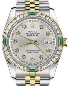 f0d6384189a Rolex Datejust 2 Tone Silver Emerald String Diamond Dial 26mm Womens Watch Rolex  Cosmograph Daytona