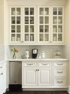 Berverage Bar and Glass Upper Cabinets (Cultivate.com) Kitchen Cabinet Door Styles, Glass Front Cabinets, Kitchen Doors, Upper Cabinets, White Kitchen Cabinets, Kitchen Cabinetry, Kitchen White, Kitchen Wet Bar, Coffee Station Kitchen