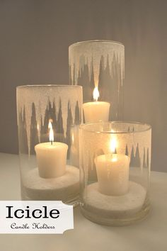 Iced candle holders. Epsom salt crystals inside and frosted glass paint on the outside.