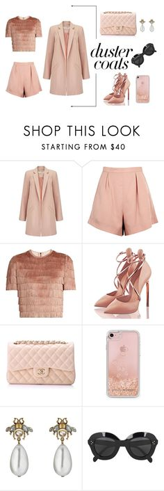 """Duster Coat"" by marianvirtua ❤ liked on Polyvore featuring Miss Selfridge, Finders Keepers, Raey, Chanel, Rebecca Minkoff, Gucci, CÉLINE, outfit, ootd and women"