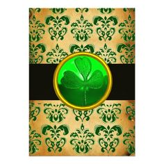 GREEN BROWN DAMASK  PARCHMENT WITH SHAMROCK  Black Personalized Announcements
