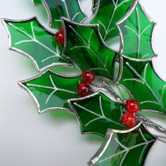 Christmas Holly Wreath Stained Glass Holly by RavensStainedGlass