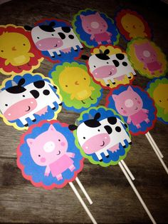 Barnyard Farm Cupcake Toppers - Cows, Chicks and Pigs - READY To SHIP. $12.00, via Etsy.