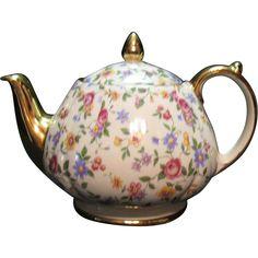 Vintage Sadler English Teapot Chintz Pattern 1940-50s Excellent Condition