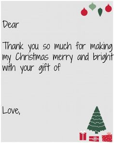Kids Christmas Thank You Card Printable Easy To Fill In And Send