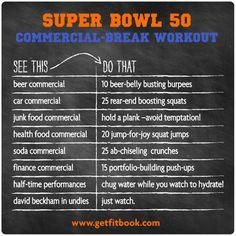 super bowl 50 commercial-break workout to burn off the brewskies! #sb50 #superbowl #gobroncos #orangeandblue #workout