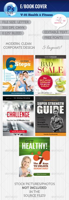 Creative (e)Book V-08 Fitness programs, Body fitness and Template - cover template