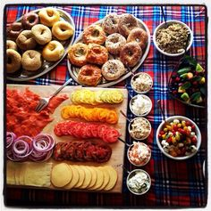 Colorful brunch spread