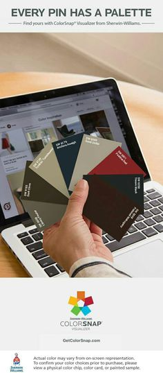 I found these colors with ColorSnap® Visualizer for Android by Sherwin-Williams (http://www.sherwin-williams.com/homeowners/color/try-on-colors/colorsnap-mobile/): Library Pewter (SW 0038), Dark Clove (SW 9183), Tumblin' Tumbleweed (SW 9120), Anchors Aweigh (SW 9179), Sand Dollar (SW 6099), Positive Red (SW 6871), Tricorn Black (SW 6258), Polished Mahogany (SW 2838). See the pin that inspired my palette: https://www.pinterest.com/pin/477029785516502632.