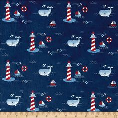 Michael Miller Minky Whales Lighthouses Navy from @fabricdotcom  This lovely minky fabric features a cozy low nap pile and is printed. It's perfect for apparel, blankets, throws, accents and stuffed animals. Colors include white, red, grey and shades of blue.