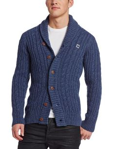 G-Star Men's Nimrod Shawl Cardigan Knit Long Sleeve, Old Delft Heather, Large, Chunky, cable cardigan with shawl collar, wide, contrast rib placket and offset feature button at neck, #Apparel, #Cardigans