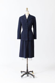40s navy blue jacket and skirt