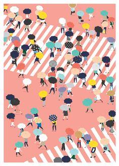 북적이는, 우산, 횡단보도, 심플, bird's eye view, 오밀조밀