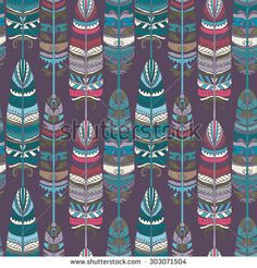 Seamless pattern with birds feathers. Tribal art animal background texture,  boho, vintage  print. Cloth design, wallpaper, wrapping