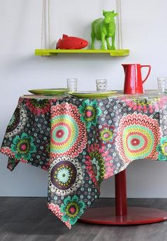 Tablecloth mandala Colima anthracite for kitchen, living or summer garden tables. Tablecloth, Interiors Online, Interior Decorating, Interior Design, Garden Table, Summer Garden, Products, Mandalas, Nest Design
