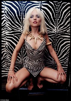 Debbie Harry - Cover girl: In 1976, Mr Stein photographed the platinum blonde striking a provocative pose for Creem magazine in an animal print body suit