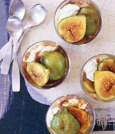 Australian Gourmet Traveller fast dessert recipe for balsamic caramel figs with ricotta mousse