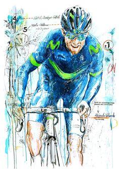 Alejandro Valverde wins 5 x Flèche Wallonne 4 x Liege Bastogne Liege by Horst Brozy Bicycle Art, Bicycle Design, Cycling Art, Cycling Quotes, Cycling Jerseys, Cycle Painting, Cannondale Mountain Bikes, Bike Poster, Vintage Bicycles