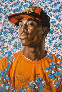 Kehinde Wiley (Los Angeles b. 1977), oil on canvas {contemporary figurative art african-american male head cap black man face portrait painting}