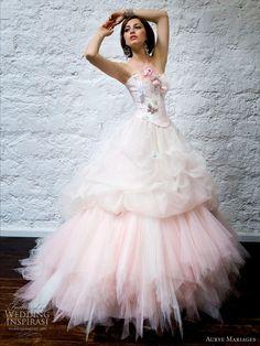 Aurye Mariages Paris Collection 2010 pink strapless ballgown wedding dress