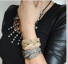 Vintage Leaves Web Gold Plate Bracelets Bangles