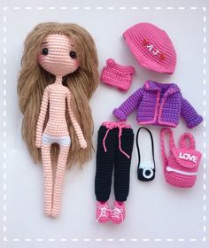 Amigurumi Doll Images and Patterns for 2019 - Claire C.Amigurumi Doll Images and Patterns for 2019 - Crochet Doll Dress, Crochet Doll Clothes, Knitted Dolls, Doll Clothes Patterns, Crochet Toys, Free Crochet, Free Knitting Patterns For Women, Crochet Dolls Free Patterns, Crochet Doll Pattern