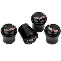 Chevrolet Corvette C6 Black Tire Valve Caps - Black Logo - USA Quality by High-End Motorsports. For product info go to:  https://www.caraccessoriesonlinemarket.com/chevrolet-corvette-c6-black-tire-valve-caps-black-logo-usa-quality-by-high-end-motorsports/