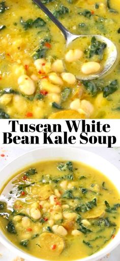 Soup recipes 627618898053902699 - The best Tuscan White Bean Kale Soup recipe with winter squash, leeks, lacinato kale and creamy cannellini beans. Super easy to make, without meat, vegan and gluten free! Source by veggiesociety Kale Soup Recipes, Whole Food Recipes, Vegetarian Recipes, Cooking Recipes, Healthy Recipes, Recipes With Kale, Vegan Bean Recipes, Recipes Dinner, Cooking Tips