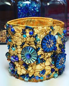 """Cuff made from Tyvek, fabric, glass beads, Czech buttons and crystals, as a sample for my online """"Tyvek Explorations"""" class, coming late spring 2017. #SusanBrubakerKnapp"""