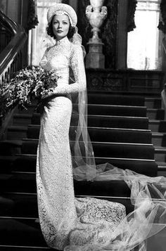 "Gene Tierney in ""The Razor's Edge"" 1946 - Dress designed by Oleg Cassini, Gene's husband."