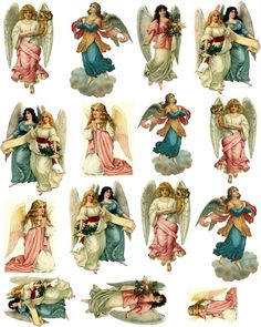 Free new age Collage Sheets for Pendants | Decoupage Paper Collage Sheet Vintage Fairies: