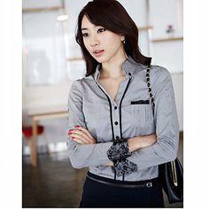 Gray 2013 nuevo modelo 100% algodón de manga larga de Corea del Trabajo Camisa de tela de CHAO LIU Mujeres – EUR € 13.19