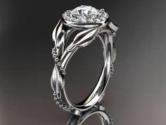 Platinum diamond leaf and vine,engagement ring wiht moisanite center stone, ADLR328 by anjaysdesigns on Etsy https://www.etsy.com/listing/207938582/platinum-diamond-leaf-and-vineengagement