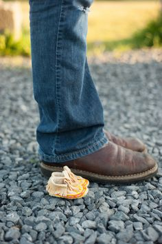Maternity photo inspiration, baby shoes Photos by B. Jones Photography