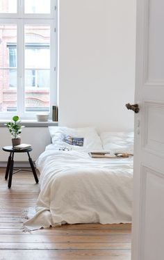 neat white bedroom - my ideal home...