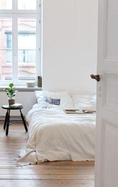 Neat white bedroom