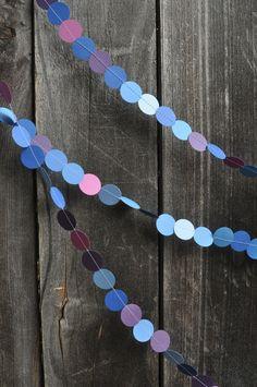 Colorful Paper Garland - Circles - Blue Purple Pink - Decoration. $9.00, via Etsy.