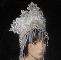Winter White Fantasy Ice Snow Crystal Queen by MIMSYCROWNS on Etsy, $495.00