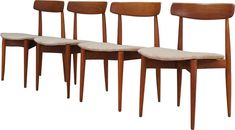 Set of 4 grey chairs in teak by Henry Walter Klein - Design Market Dining Area, Dining Chairs, Grey Chair, Teak Wood, Danish Modern, Chair Design, Upholstery, Design Market, Furniture