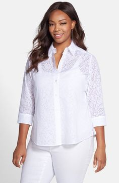 Foxcroft Giraffe Burnout Shirt (Plus Size) available at #Nordstrom
