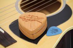 Guitar Pick Box, Solid Cherrywood, Laser Engraved, Paul Szewc, G 36 http://etsy.me/20mgDVE