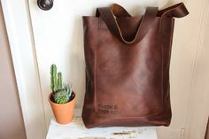the rusticus thick strap tote in brown // brown by HUSTLEANDHIDE