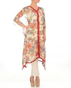 White Kaftan with Floral Print Work #Exclusivelyin #IndianEthnicWear #IndianWear #Fashion