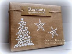 Kraft Paper Wrapping with Christmas Stamping, ziezo-knutsels.blogspot